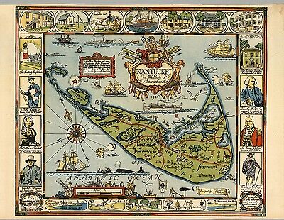 1926 PICTORIAL map Nantucket in the State of Massachusetts POSTER 8921