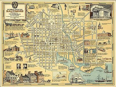 1954 PICTORIAL Historical map of old Baltimore by Saving Bank POSTER 8341000