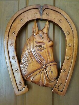 Beautiful HAND-CARVED Wood HORSE & HORSESHOE Plaque