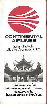 Continental Airlines system timetable 12/15/78 [6031] (Buy 3+ Save 25%)