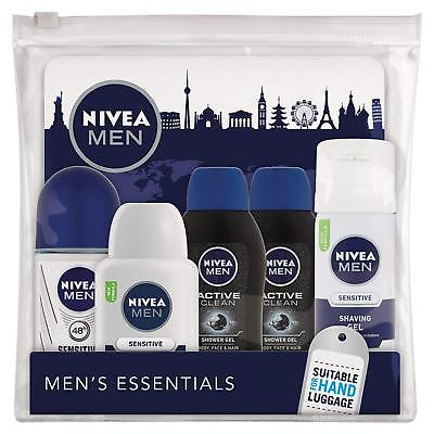 Mens Toiletries NIVEA Travel Size Hand Luggage Cabin Small Bottle Essentials Set