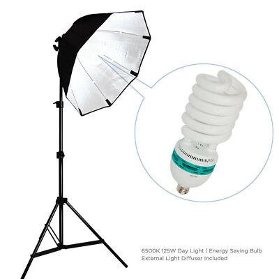 Photo Studio Continuous Lighting Kit w/ Octagonal Soft Box and External Diffuser