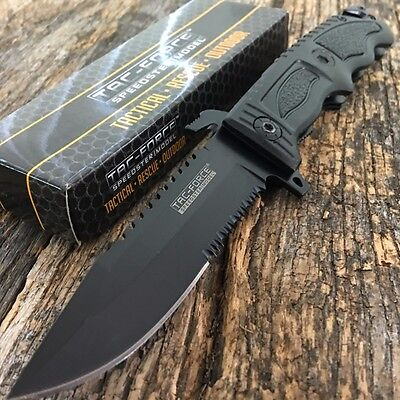 TAC FORCE Spring Assisted Open  SAWBACK BOWIE Tactical Rescue Pocket Knife Q