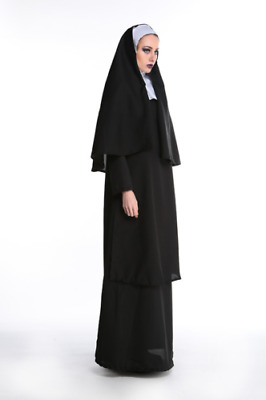 Women Nun Cosplay Costume With Stockings Hoodie Full set Carnival fancy OutfitFZ