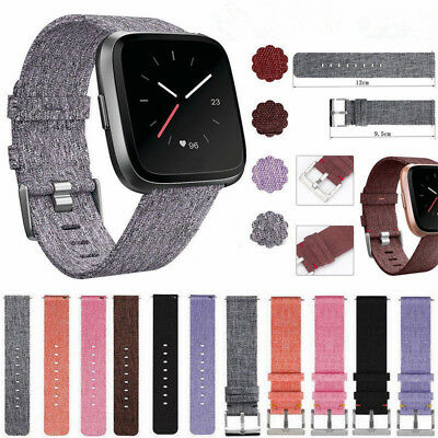 Woven Fabric Strap Wrist Bands w/ Stainless Metal Clasp for Fitbit Versa Watch