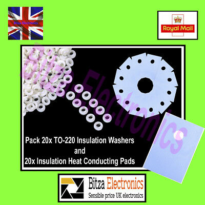 20x TO-220 Heat Sink Insulation washers and Pad Kit - UK Seller