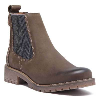 Justin Reece Sasha Womens Leather Chelsea Ankle Boots In Brown Size UK 3 - 8