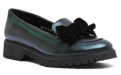 Justin Reece Women Leather Slip on Loafer Shoes with Bow In Green UK Size 3 - 8