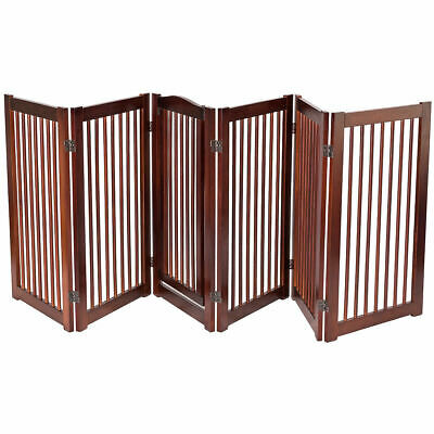 "36"" Configurable Folding Free Standing 6 Panel Wood Pet Dog Safety Fence w/ Gate"