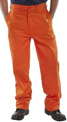Click Fire Flame Retardant Orange Work Safety Trousers Pants Welding Fabrication