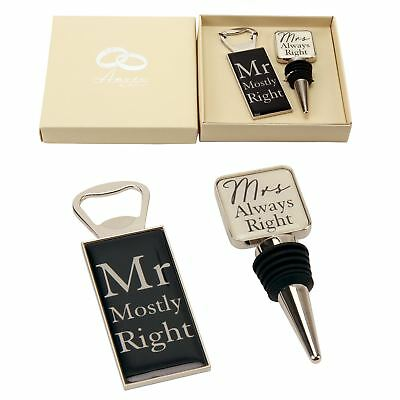 Mr Mostly Right & Mrs Always Right Bottle Opener And Stopper - Damaged Box
