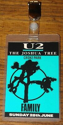 U2 Authentic Joshua Tree Tour Family Laminated Pass 28 June 1987 Croke Park