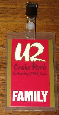 U2 Authentic Unforgettable Fire Family Laminated Pass 29 June 1985 Croke Park