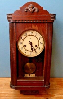 Vintage Wooden/Glass Cased Wall Clock with Key & Pendulum - For Repair.