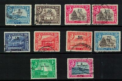 aden stamps - george vi - 1951 issues - good used to 2 shillings useful lot