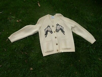 Awesome Vintage HORSE buttons sweater Never Worn 1950's wool NOS CANADA Large