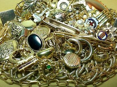 658g. LOT OF UNTESTED GOLD PLATE/FILLED/GOLD-TONE JEWELRY FOR SCRAP/PARTS (MP10)