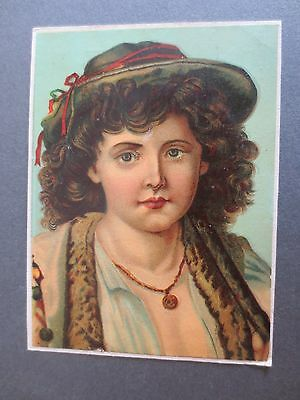 VICTORIAN SCRAP Cut Out Brown Curly Haired Gypsy Boy in Hat Chromo Litho