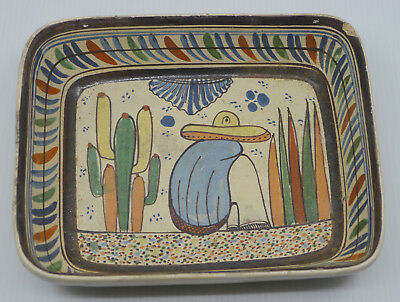 Vintage Hand Painted Mexican Folk Art Pottery Casserole, Tray, Man & Cactus