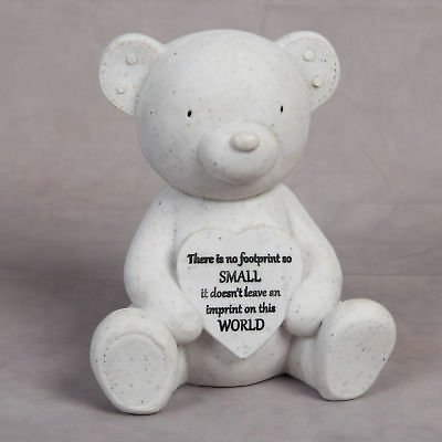 Thoughts Of You Graveside Teddy Bear Heart Baby Resin Stone Memorial