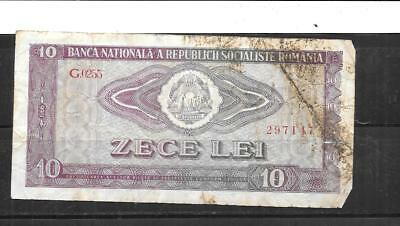 ROMANIA #94a 1966  AG CIRC  OLD 10 LEI BANKNOTE NOTE CURRENCY PAPER MONEY