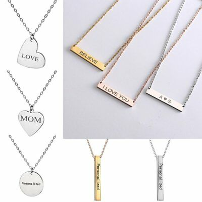 DIY Personalized Stainless Steel Engraved Name Love Heart Pendant Necklace Gift