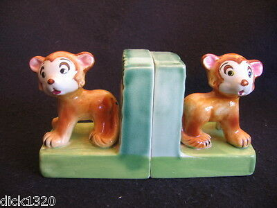 VINTAGE PAIR of HAND-PAINTED CERAMIC 'BEAR' BOOKENDS MARKED FOREIGN c.30's