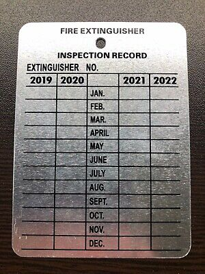 New Metal Fire Extinguisher 4-Year Monthly Inspection Tags 2018/2019/2020/2021