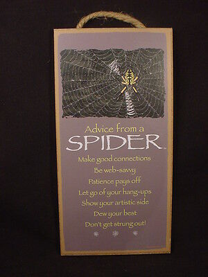 ADVICE FROM A SPIDER wood INSPIRATIONAL SIGN wall NOVELTY PLAQUE Halloween NEW