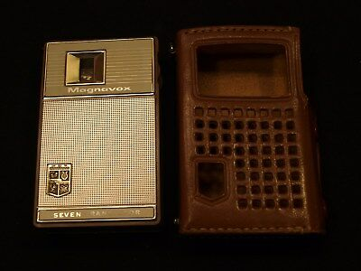 Vintage Magnavox 2-AM-70 Tan Brown Seven Transistor Pocket Radio With Case Japan