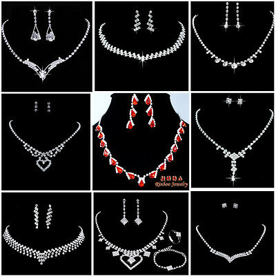 Fashion Wedding Bridal rhinestone Jewellery Set Crystal Necklace and Earring Set