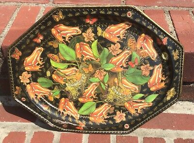EARLY VINTAGE HAND PAINTED TOLE TRAY w COLORFUL TROPICAL FROGS & BIRDS / RARE