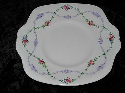 Vintage Crown Staffordshire China Cake Plate Hand Decorated Rose Border 1906-30
