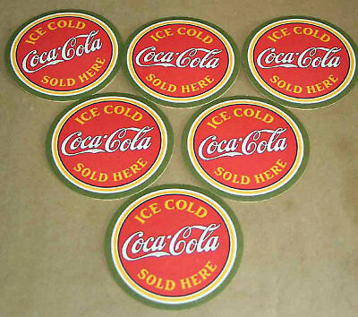 "6 ICE COLD COCA-COLA SOLD HERE Paper Coasters 4"" Coke FREE SH"