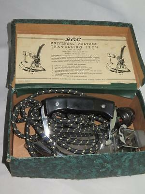 Vintage GEC UNIVERSAL VOLTAGE TRAVELLING IRON D5827 1950s Boxed and Working