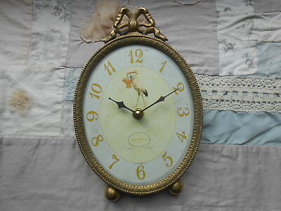 Timeworks Stork Blue Table Baby Clock EUC Never Used Made in USA Vintage-Look