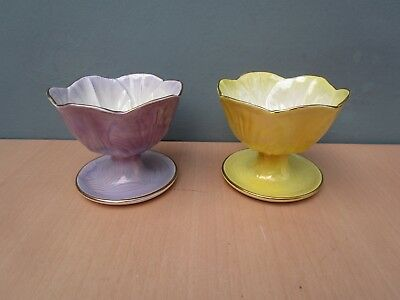 2 Vintage Maling Ware Lustre Sundae Dishes - Yellow And Lilac