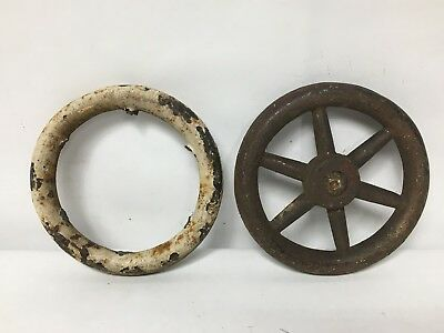 2Pc Steel Circle Industrial Metal Outdoor Faucet Hose Bib Handle Steampunk Art