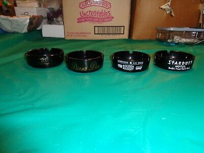 Lot of 4 Black Glass Las Vegas Hotel Casino Ashtrays Stardust, Riviera & More
