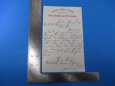Antique 1872 Mitchel, Green, & Stevens Dry Goods and Woolens Letterhead S7688