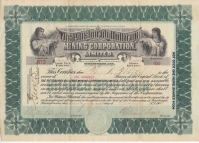 1906 Mining Certificate Nevada Signed.