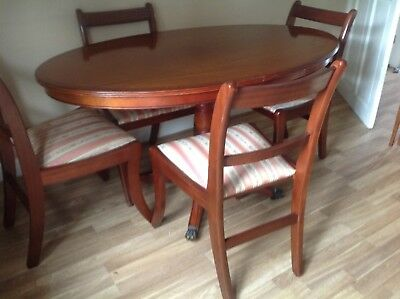Regency Style Mahogany Oval Dining Table And Four Chairs