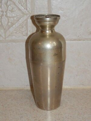 """Vintage Signed Napier Small Cocktail Shaker 6 3/8"""" Silver Plated Drink Guide Top"""