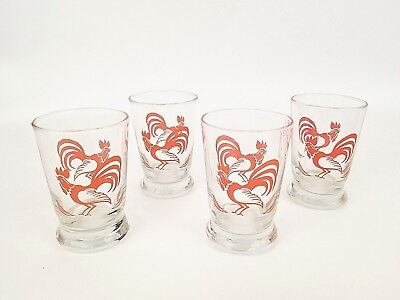 Vintage Orange Rooster Juice Glasses Set of 4 Farmhouse Country Decor