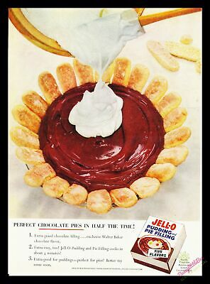 1950s Print Ad~Vintage~1956~Jell-O~Chocolate Pudding Pie~Color~I600