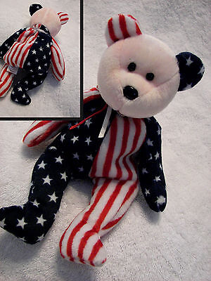 Ty Beanie Babies SPANGLE Flag Star Red White Blue Bear   pink face no tag