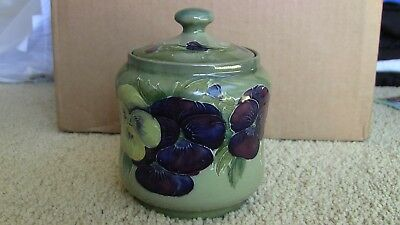 MOORCROFT Early Pansy on Green Ground Covered Tobacco Jar c 1913-1916 5 inches