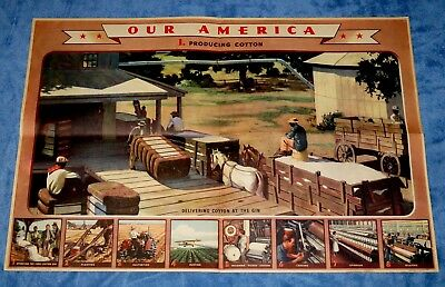 "Vintage Coca Cola "" Our America: Cotton "" Educational Poster  # 1 ~ 1942"