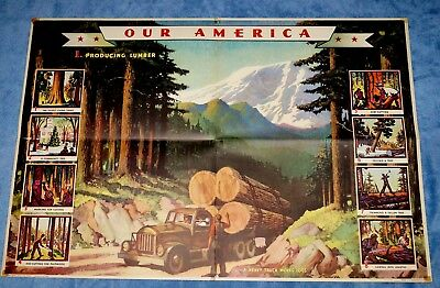 "Vintage Coca Cola "" Our America: Lumber "" Educational Poster  # 1 ~ 1942"