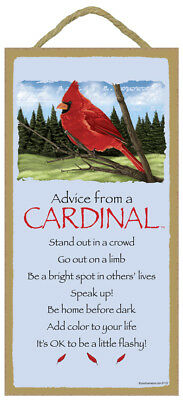 ADVICE FROM A CARDINAL wood INSPIRATIONAL SIGN wall hanging PLAQUE Wild Bird USA